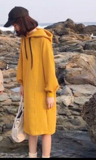 Yellow hoodies dress Korea style