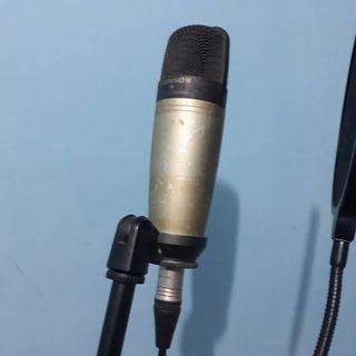 1 set mic condenser samson c01 + boom stand mic + xox pop filter