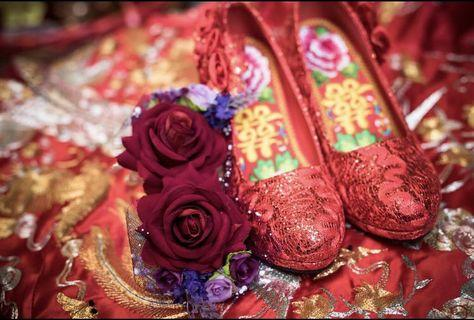 中式褂鞋送鞋墊及2對雙喜拖鞋