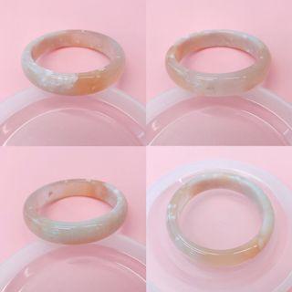 櫻花瑪瑙手鈪手鐲小圈口52.5 奶茶果凍 滿天星小碎花 微瑕特價