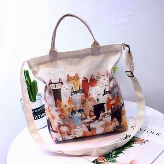 Korean-style Kittens Print Shoulder Strap Canvas Cross Body Sling Tote Bag