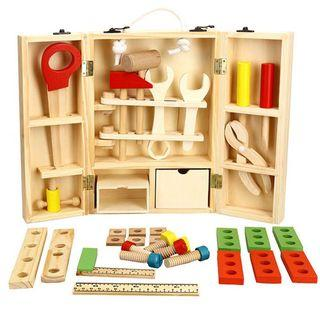 Wooden engineering set carpennter tool box