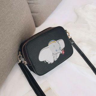 🚚 🐣現貨🐣❤佳比雜貨❤黑款-小飛象小方包斜背側背包
