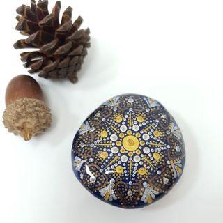 🚚 【沐星藝坊】手繪岩石 彩繪曼陀羅 磁鐵