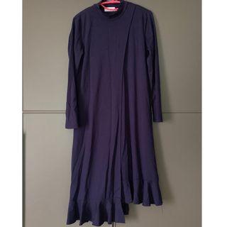 Navy blue high neck double layered one piece全新寶藍色連身裙斯文裙