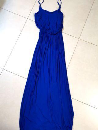 長身裙 Lush maxi dress in sapphire blue size M