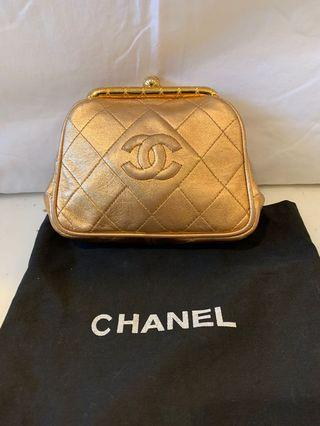 Chanel rose gold evening clutch