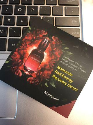 🚚 Mamonde Red Energy Recovery Serum Samples