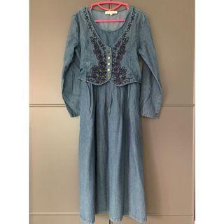 文青Indie牛仔縛腰連身裙 embroidered denim one piece dress