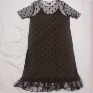 🚚 僅下水 NET 兩件式 黑色 洋裝 吊帶裙 罩衫 點點 透紗 紡紗