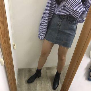 🚚 條紋襯衫+牛仔裙