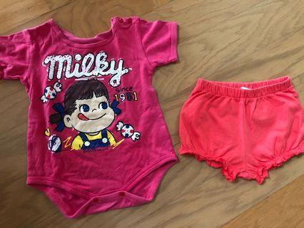 Romper Milky dan shorts H&M 3-6m