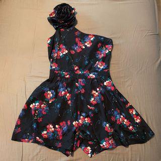 超靚Topshop單肩碎花連身裙褲 Topshop summer floral off shoulder jumpsuit  party dress