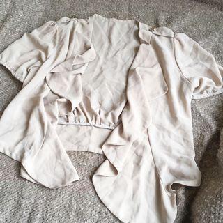 杏色雪紡短外套