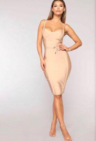 *PRICE DROP* Fashion Nova Nude Bandage Dress
