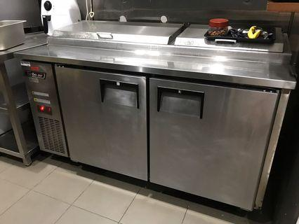 2 doors counter chiller stainless steel