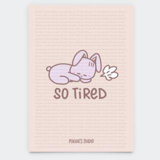 🚚 Kiki Bunny So Tired Postcard