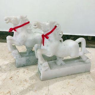 *Reduced* Pair of White Marble Horses