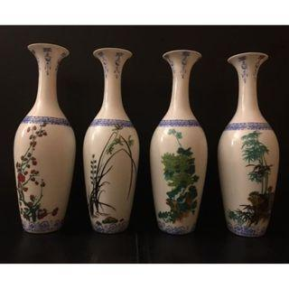Lot of a Set of four Finely painted Famille Rose eggshell porcelain vase (Four gentleman MeiLanJu bamboo) - China - second half 20th Century.八十年代梅兰菊竹薄胎瓶。