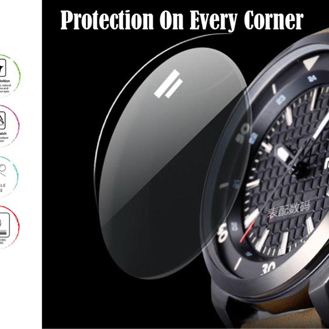 2 Pcs 25mm-46mm of New Universal Round Smart Watch Tempered Glass Screen Protector Film