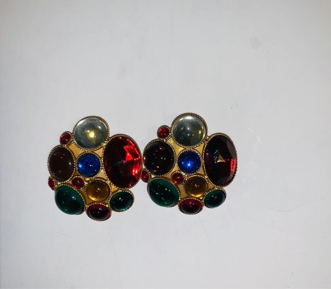 復古夾耳環