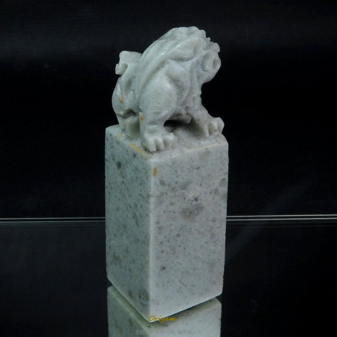 珍珠林~僅此一件 賠售出清~天然壽山石~張嘴招財貔貅印材.也可當手把件/擺件#972