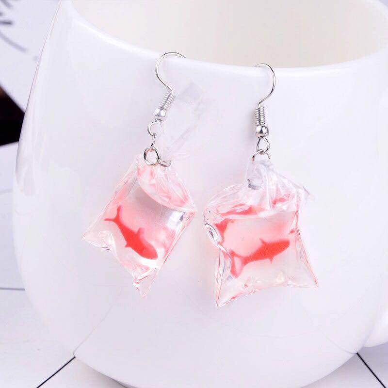 70f169e9e 🐳 INSTOCK Ulzzang Fish In a Bag Earring, Women's Fashion, Jewellery,  Earrings on Carousell