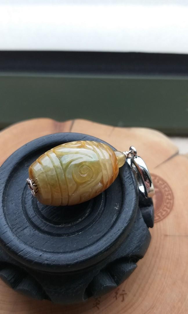 天然A貨黃翡翠雕花珠吊飾連黃玉珠頸鏈