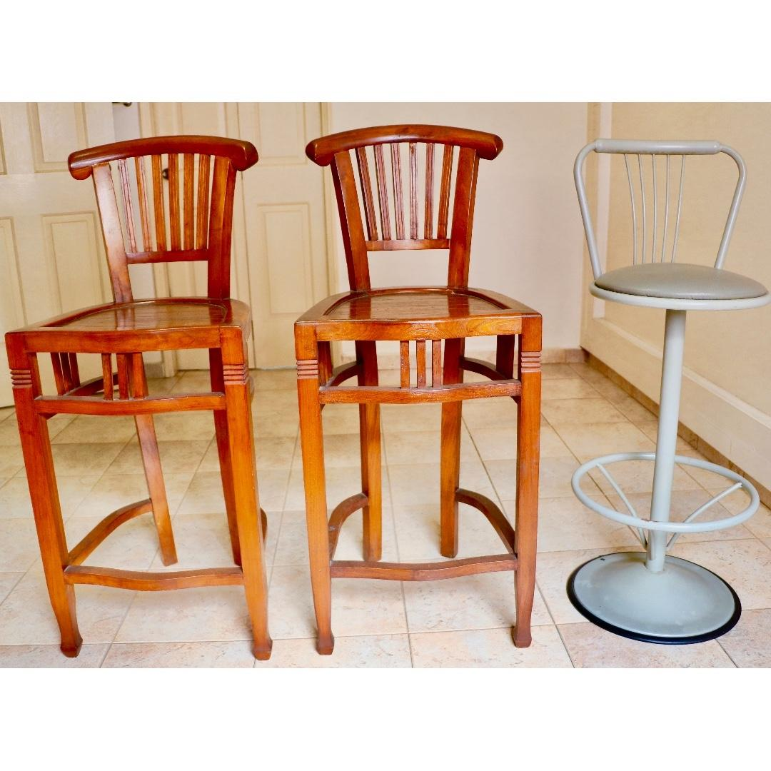A Pair Of Wooden Bar Stools 1pc Foc