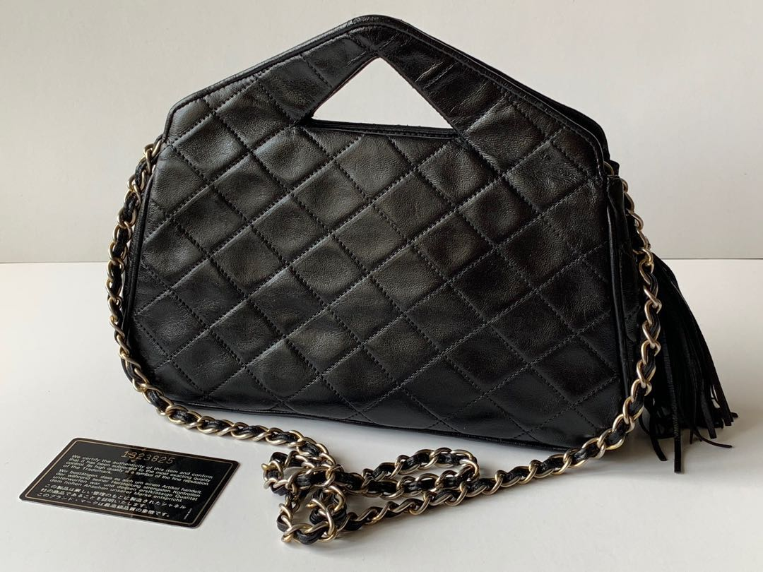 b6c45ad8e63e9e Authentic Chanel Vintage Quilted Lambskin Triangle Sling Bag, Luxury ...