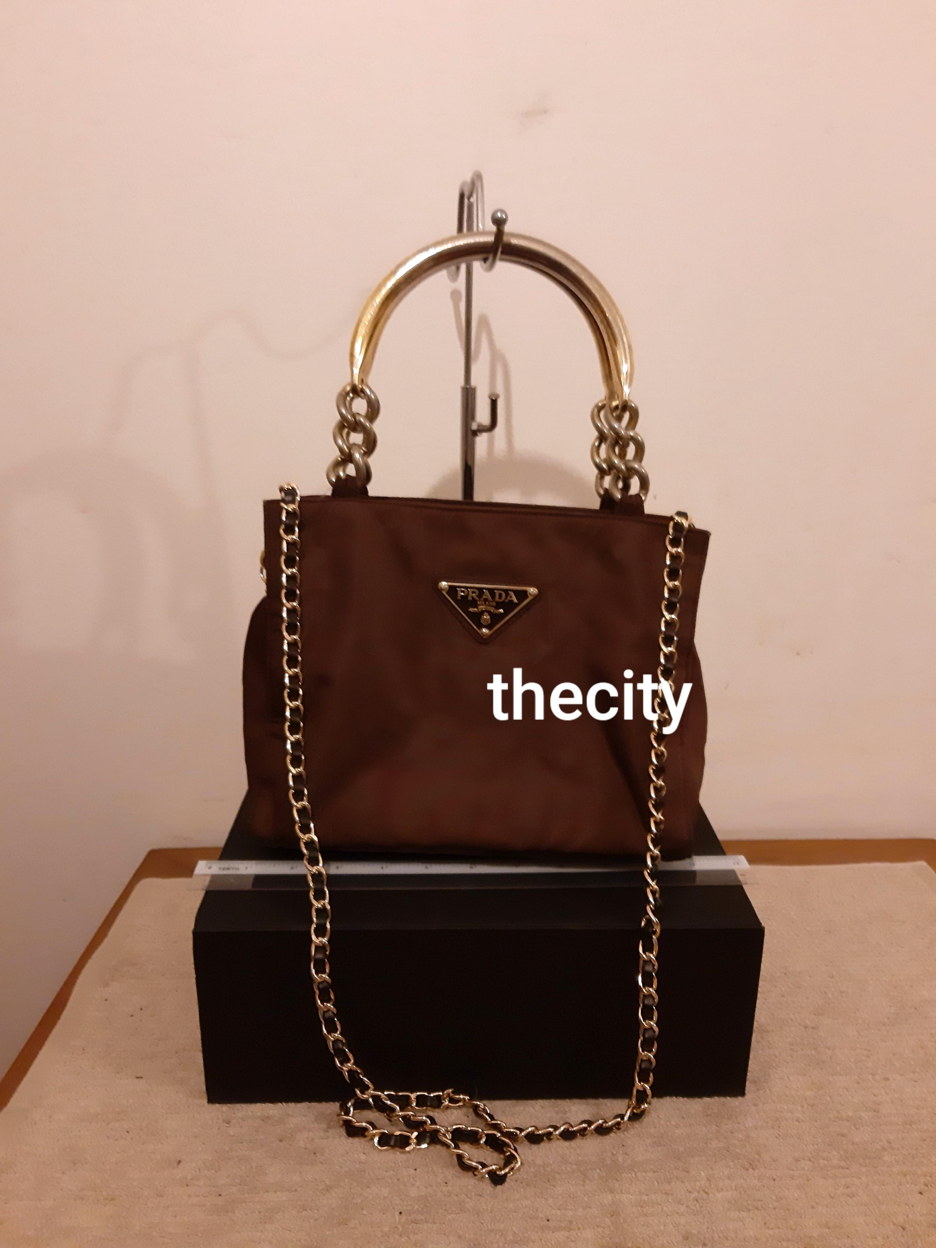 AUTHENTIC PRADA TOTE - BROWN NYLON CANVAS - GOLD HARDWARE - CLEAN INTERIOR - WITH EXTRA HOOKS & LONG CHAIN STRAP FOR SLING CROSSBODY- (PRADA CHAIN SHOULDER BAGS NOW RETAIL AROUND RM 5000+)