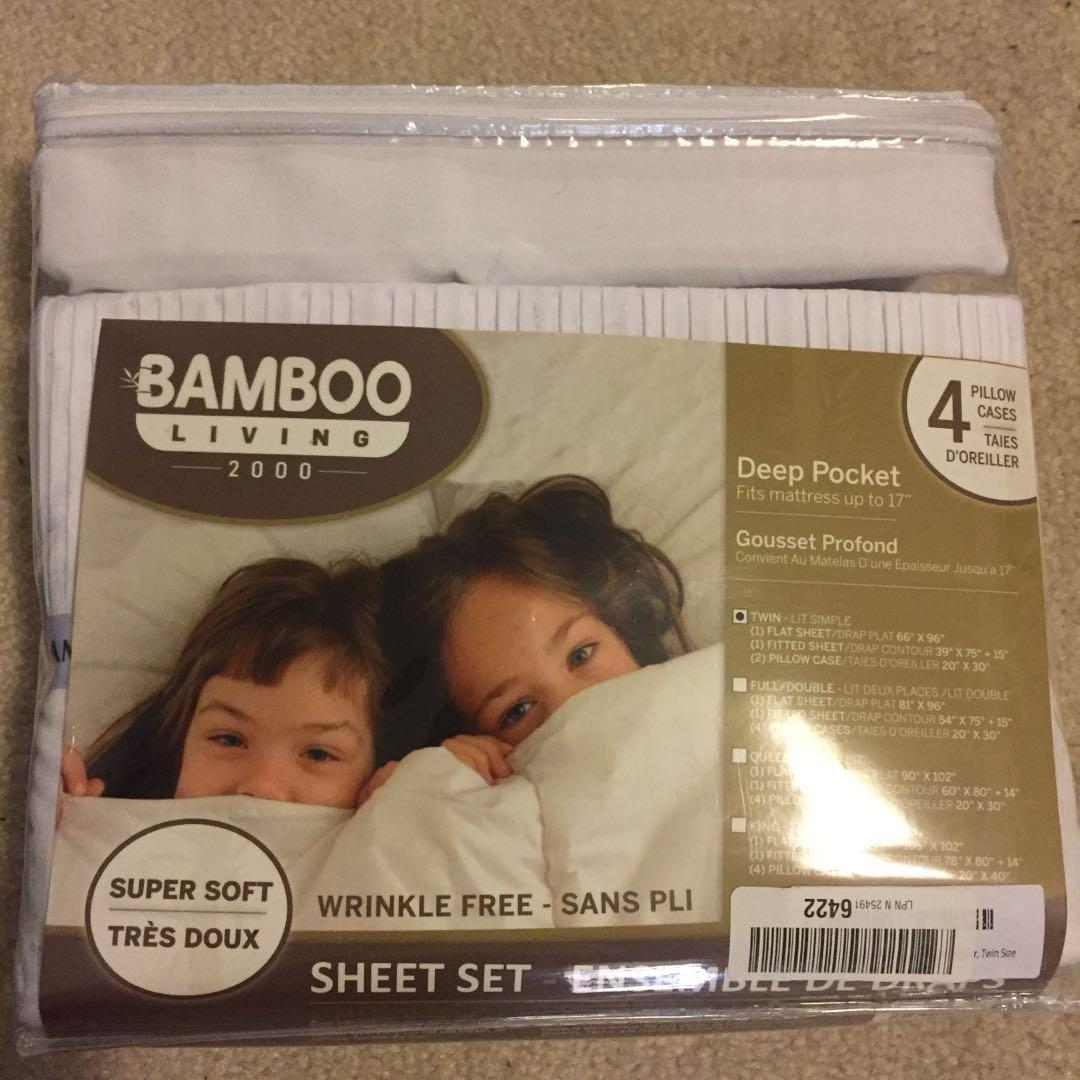 Bamboo Living Eco Friendly Egyptian Comfort Bedding 4 Piece Sheet Set with 2 Pillowcases, White Color, Twin Size