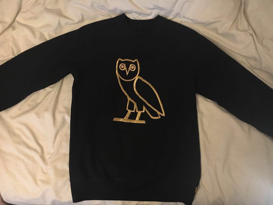 Black original OVO crewneck with gold owl embroidered