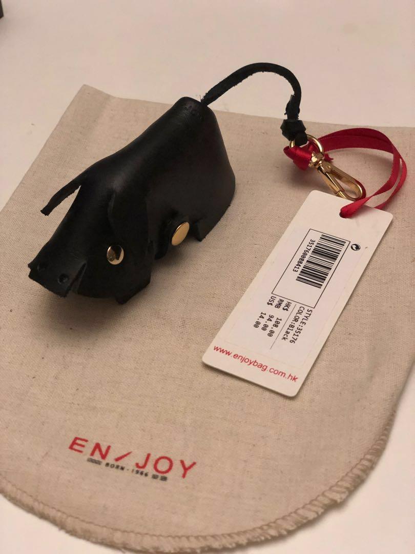 Black Piggy Leather Keyring Bag (黑豬仔真皮鎖匙包)