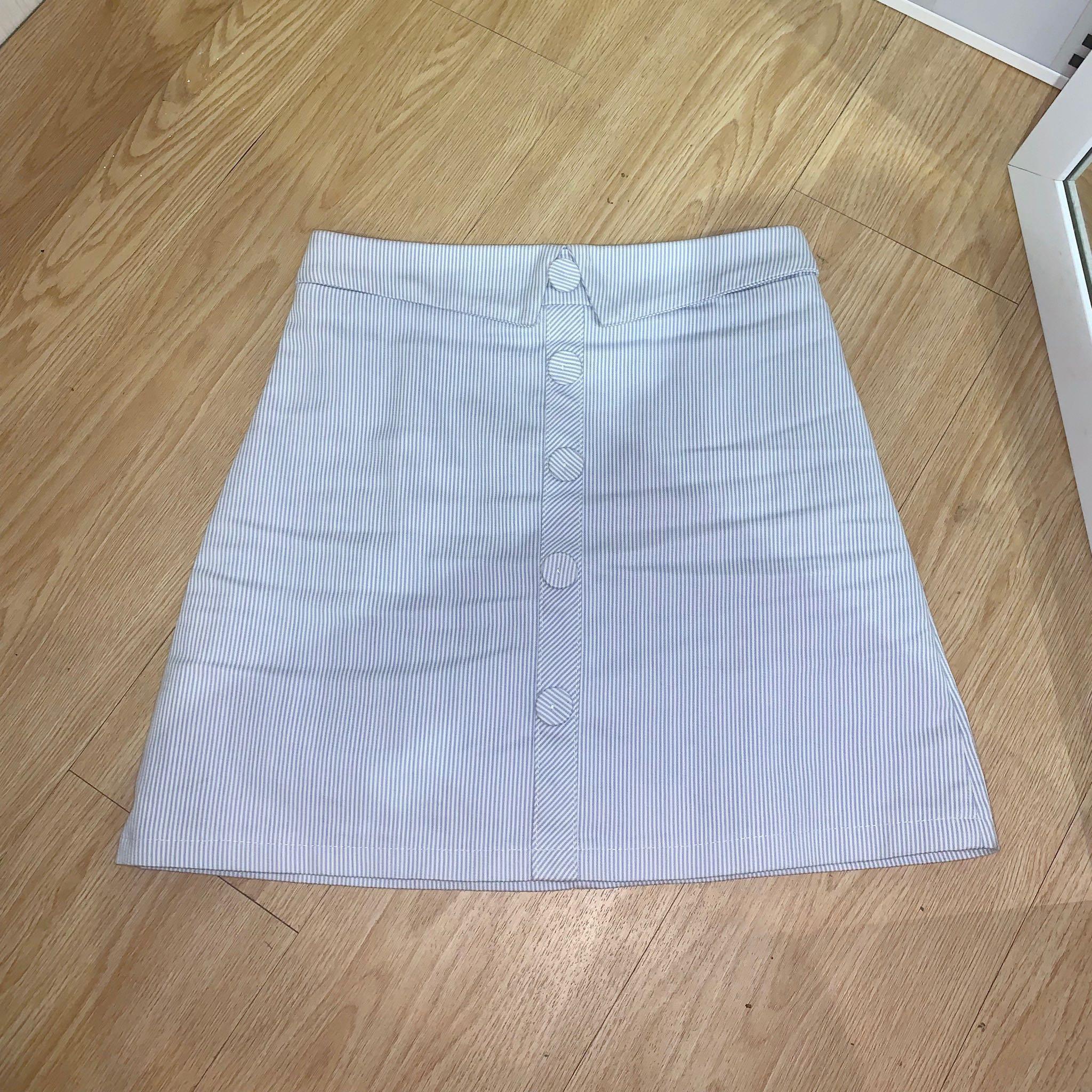 blue stripe button skirt