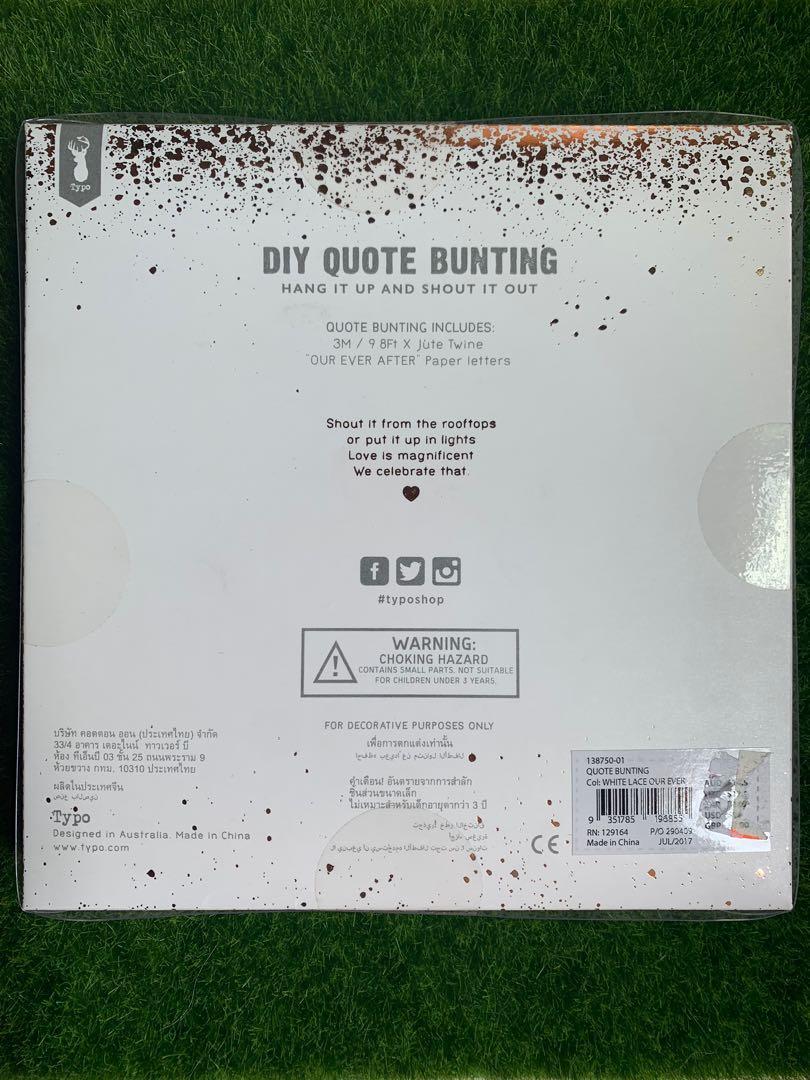 BNIB Typo DIY Quote Paper Bunting Wedding