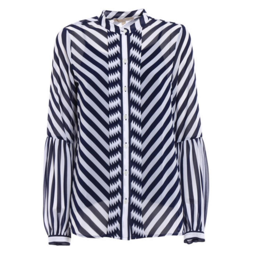 Brand New Authentic Michael Kors Stripe Sheer Shirt Blousr