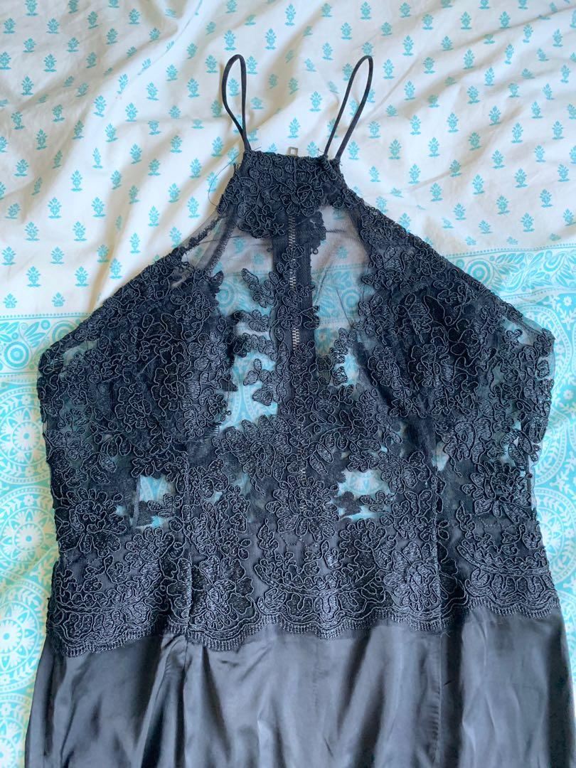 chiffon boutique rosie maxi dress black size 12
