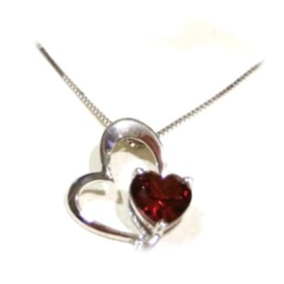 Citigems Ruby Gem Heart Pendant Necklace