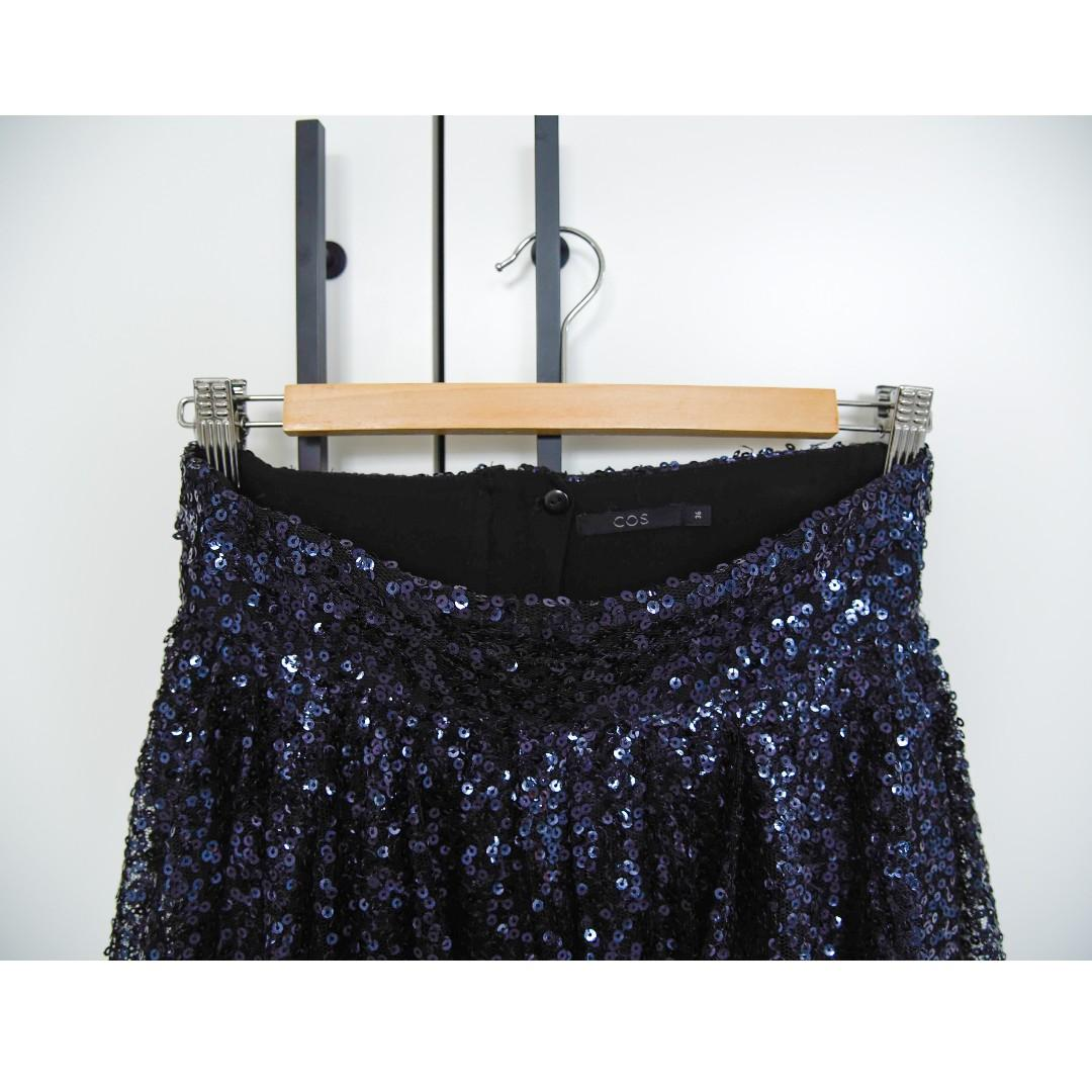 COS Black Back Zip High Waisted Sequin Mesh Pleated Skirt