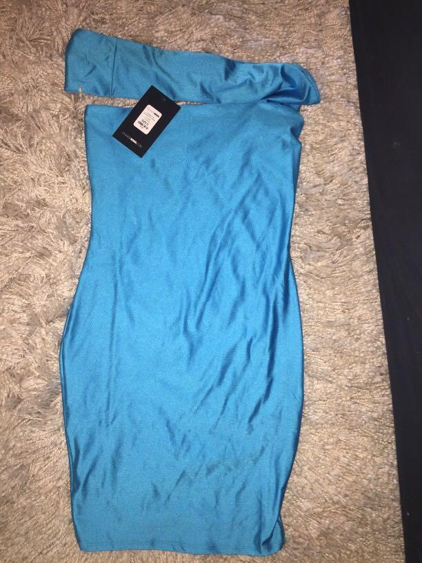 "Fashion Nova ""Cut Me In Off Shoulder Mini Dress - Turquoise"""