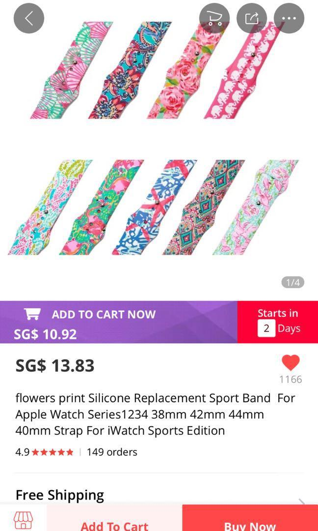 Flowery Apple Watch Silicone Strap [38mm]