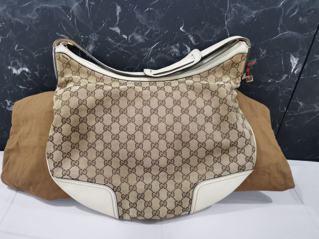 952dd248c56 Gucci Beige GG Monogram Canvas x White leather Hobo Bag
