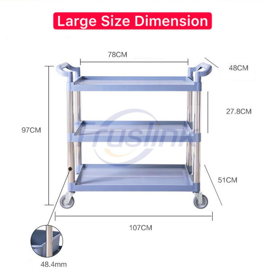 Hotel Articles Plastic Kitchen Trolley with Wheels 3-Tier Hotel Plastic Cart Service Trolley Restaurant Trolley Hotel Serving Cart Plastic Utility Cart Large/Medium Size Multi-Purpose Dining Car Push Cart