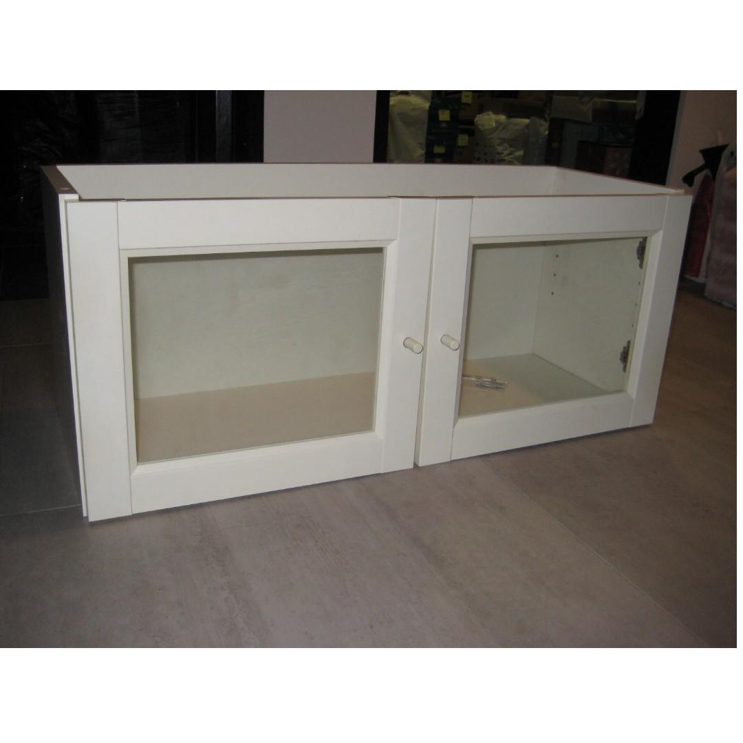 Ikea Billy Bookcase Extension Unit White W Glass Doors
