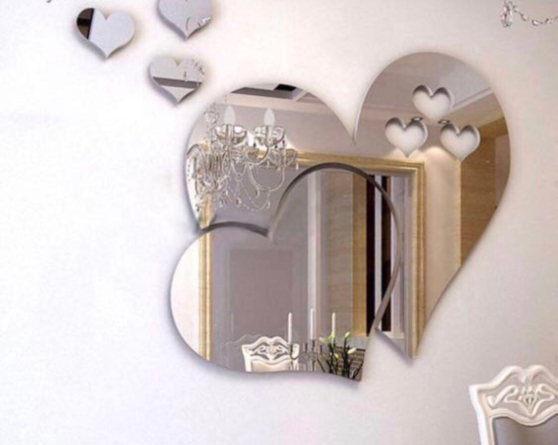 Instock! Heart Shaped Mirror Wall Sticker