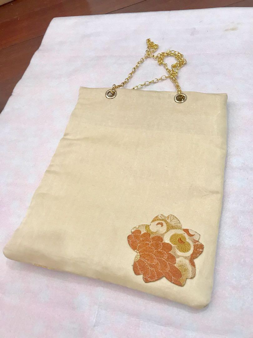 Japanese kimono obi tote bag