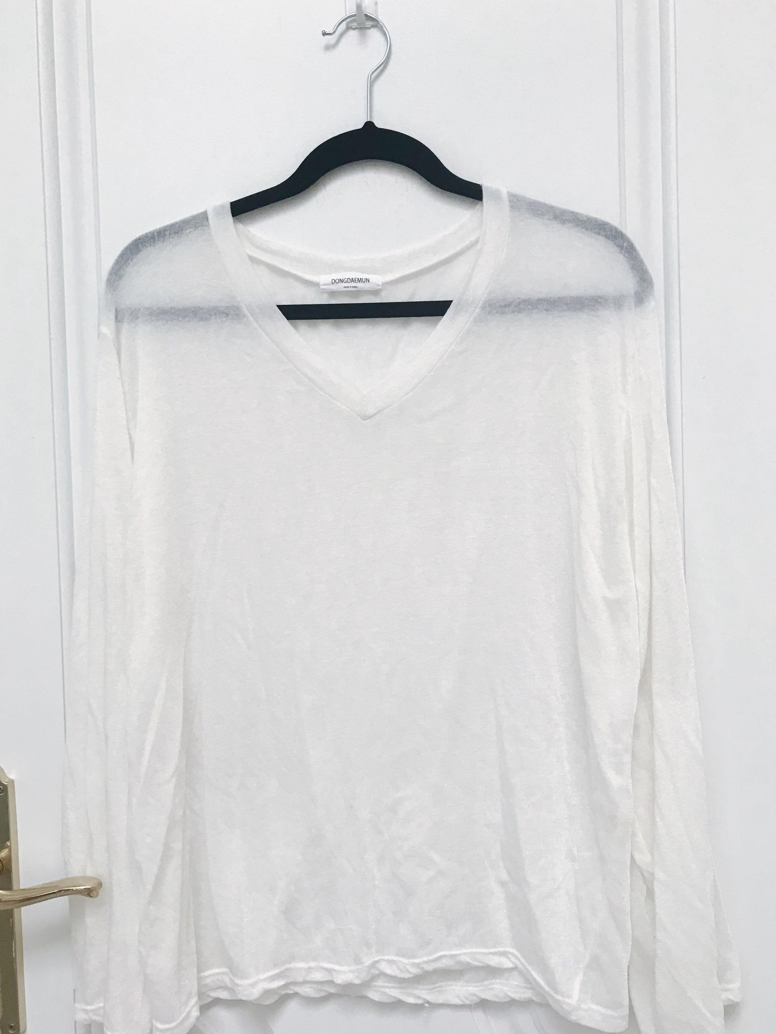 Long sleeve v neck see through top bell sleeves ONE SIZE