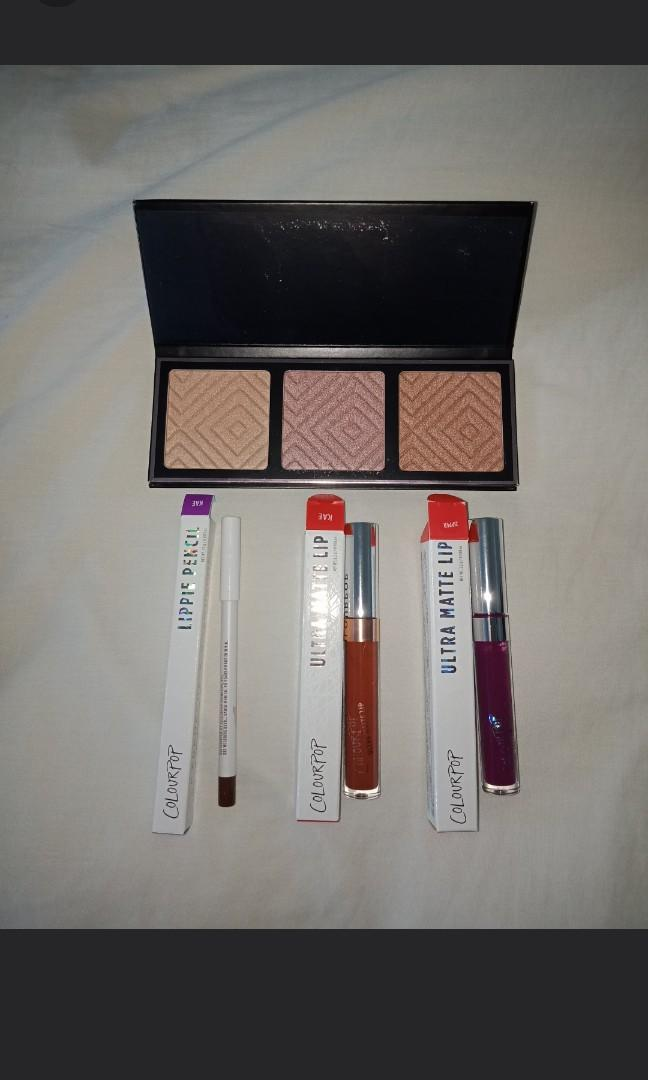 Makeup geek Kathleenlights highlight palette, 3x colourpop lipsticks