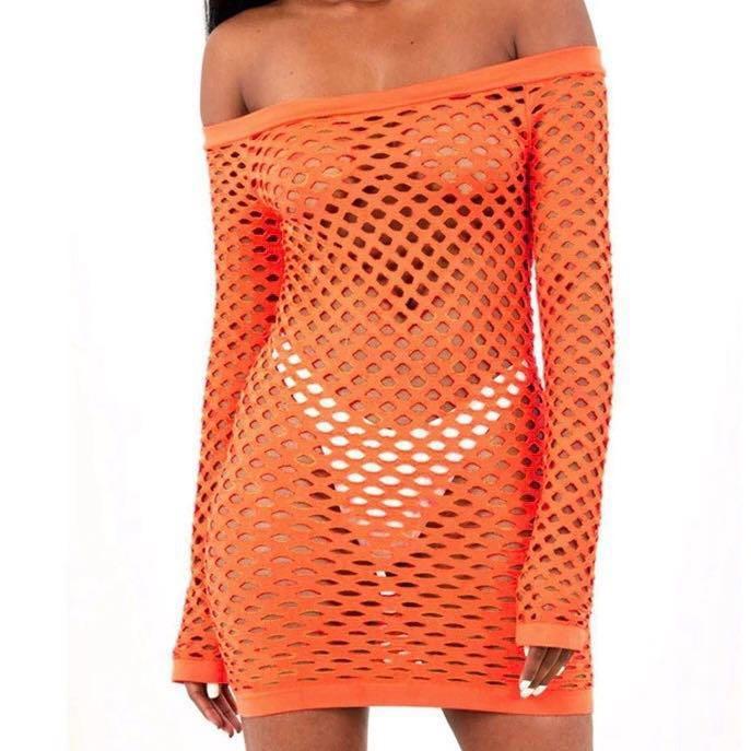 Mesh Festival Fishnet Dress in Black or orange